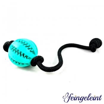 Zahnpflegeball - Dentalball | Naturkautschuk | mit Tau | Schwarz | Ø 7 cm