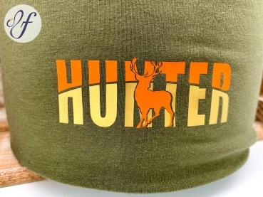 Beanie | Mütze für Jäger | Sofortkauf | Olive | Motiv 'Hunter'