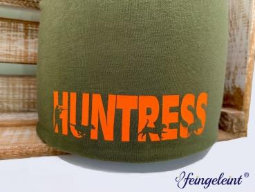 Beanie | Mütze für Jägerinnen | Sofortkauf | Olive | Motiv 'Huntress'