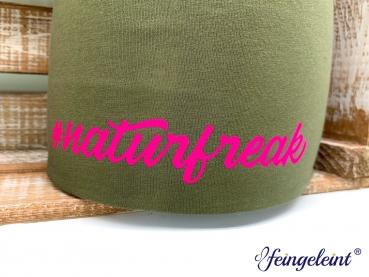 Beanie | Mütze für Naturliebhaber | Sofortkauf | Olive | Motiv '#naturfreak'