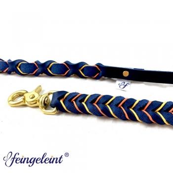 Führleine mit Handschlaufe aus Fettleder | Blau/Orange/Gelb | 150 cm