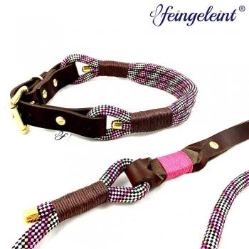 Halsband und Leinen Set aus Tau und Fettleder   'Pink & Beige', 47-51cm Halsumfang