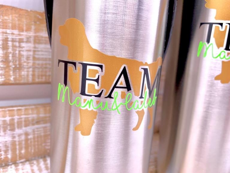 Individuelle Trinkflasche inkl. Trinknapf für Hunde   TEAM-Variante mit Wunschnamen und Rasse
