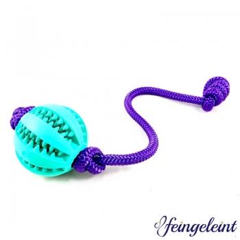 Zahnpflegeball - Dentalball | Naturkautschuk | mit Tau | Lila | Ø 7 cm