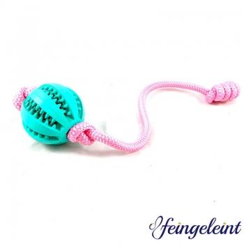 Zahnpflegeball - Dentalball   Naturkautschuk   mit Tau   Rosa   Ø 7 cm