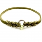 Mobile Preview: Markenhalsband mit Flechtung, 42cm, olive mit Camouflage-Perle